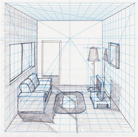 one point perspective living room drawing room in perspective withgrid drawing with a perspective grid perspective grid drawing