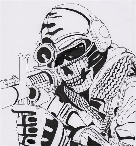 cod ghosts coloring pages ghost call of duty by kopale on deviantart
