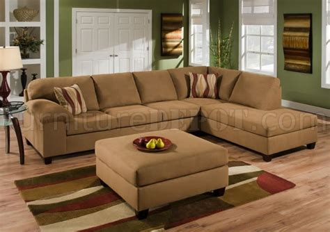 tan sectional couch tan cigar fabric modern sectional sofa set w optional ottoman