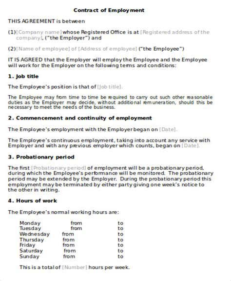 employment agreement contract sle 9 exles in word