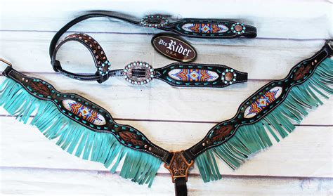 beaded breast collars show bridle western leather headstall breast collar
