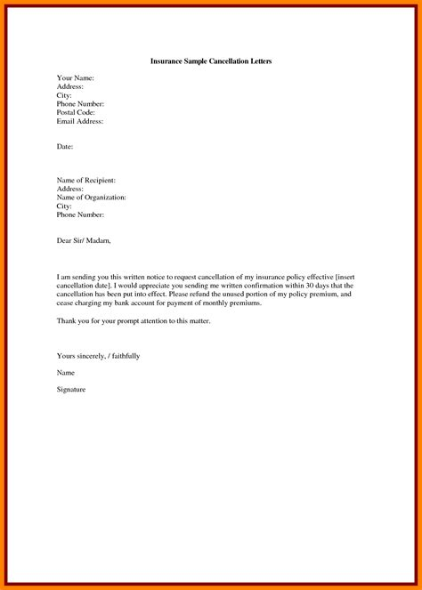 bank account cancellation request letter insurance cancellation letter to bank proyectoportal
