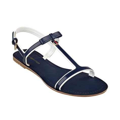hilfiger flat shoes hilfiger womens lisel flat sandals in blue navy lyst