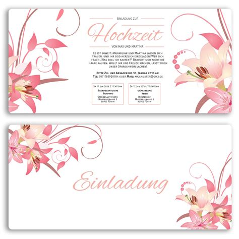 Hochzeitseinladungen Bestellen by Hochzeitskarten Mit Blumendesign Bestellen