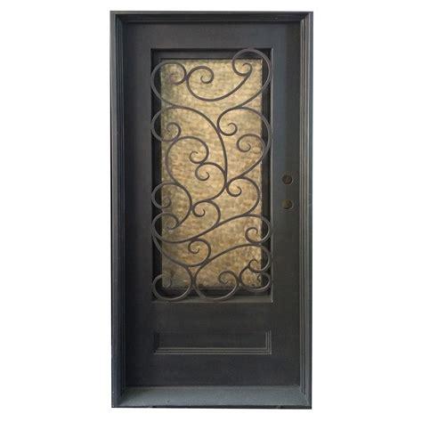 Wrought Iron And Glass Doors Grafton Exterior Wrought Iron Glass Doors Fern Collection Black Left Inswing 82 Quot X38 Quot Flat Top