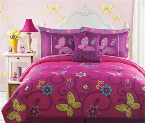 teen girl bed in a bag pink yellow teal butterfly teen girls full size