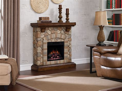 Tequesta Stone Electric Fireplace Mantel Package In Old World Fireplace