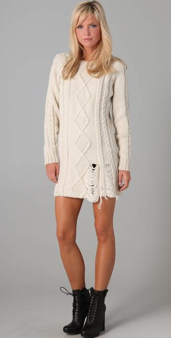 ivory cable knit sweater dress lyst pencey sweater dress in white