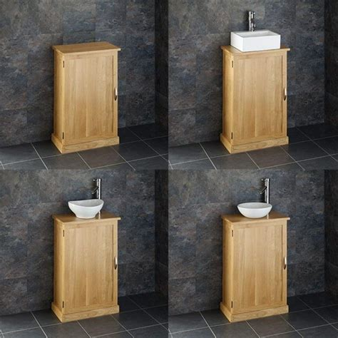 Freestanding Bathroom Furniture Oak Cube Solid Oak Freestanding 55cm Washstand Sink Washbasin Bathroom Cabinet Basin Ebay
