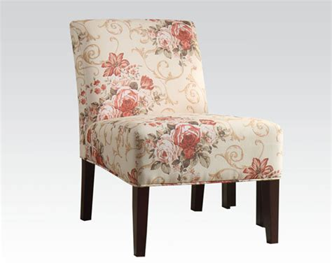 floral accent chair accent chair in floral fabric by acme furniture ac59305