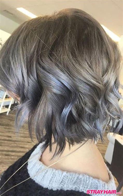 how to color gray hair medium length wavy silver gray hair color smokey grey