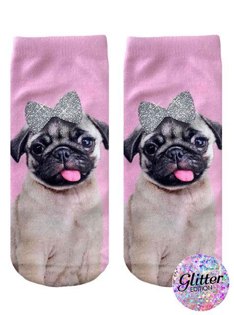 living with a pug pug with bow ankle socks living royal