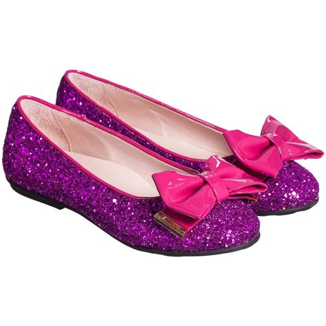 pink sparkly shoes moschino kid fuchsia pink leather glitter