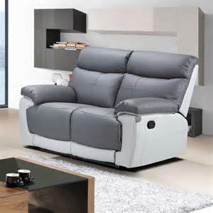 Grey Recliner Sofa Stirling 2 Seater Fully Reclining Grey Leather Recliner Sofa 1 Year Guarantee Ebay