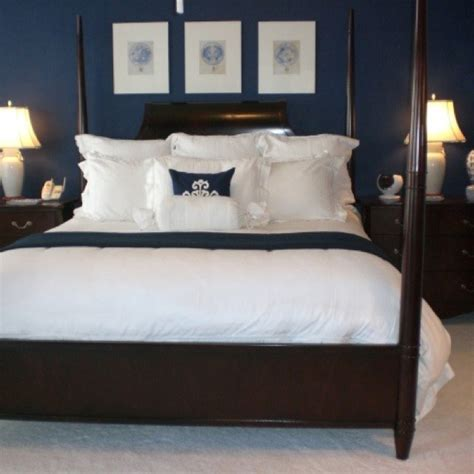 navy bedroom walls navy blue bedroom paint color to go around the beadboard