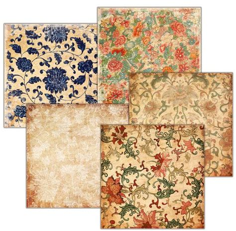 decoupage scrapbook paper on wood decoupage background vintage wallpaper set of