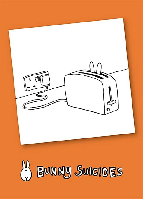 Death By Toaster Bunny Suicides Death By Toaster Funny Fridge Magnet Hb