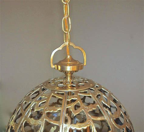 Asian Pendant Lights Large Pierced Filigree Brass Japanese Asian Ceiling Pendant Light For Sale At 1stdibs