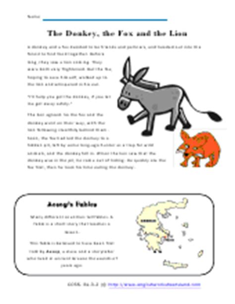 printable children s fables determining the moral of fables and folklore worksheets