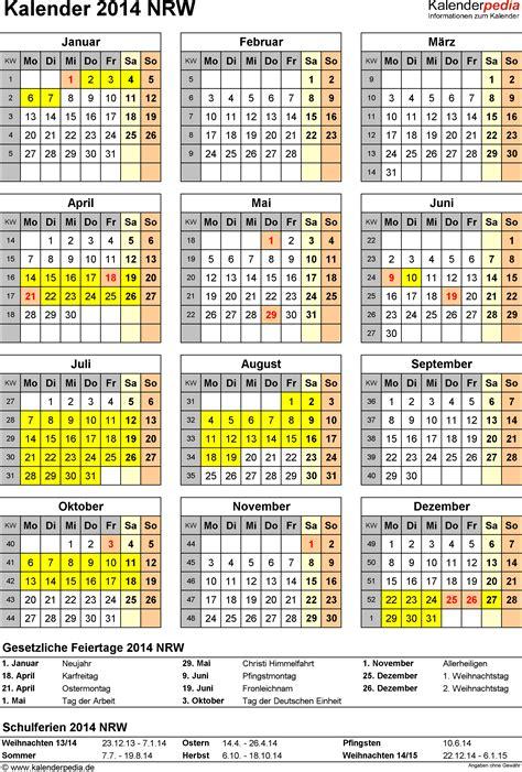 Nrw Kalender 2015 Kalender 2014 Nrw Ferien Feiertage Excel Vorlagen