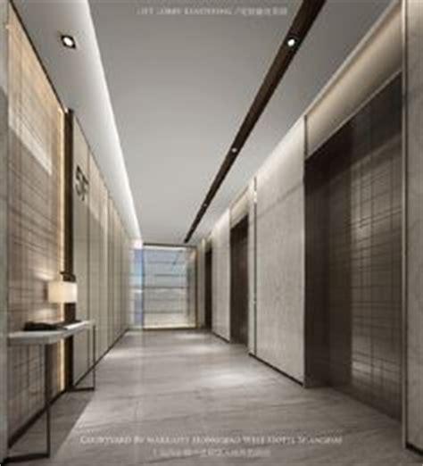minimalistic hotel elevator hall design 3d rendering interface walk the plank carpet tile herringbone corridor