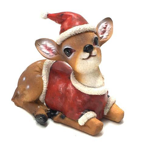 reindeer baby deer fawn christmas statue ornament figurine