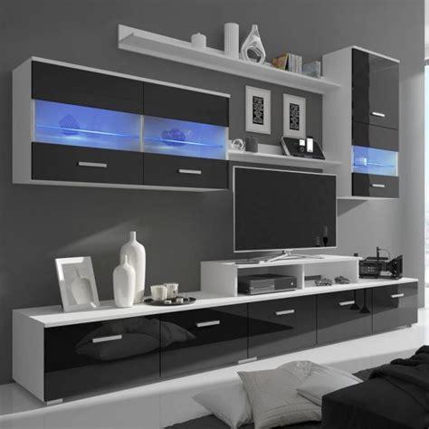 composicion  salon de  muebles   estanterias  luces led acabado negro brillante