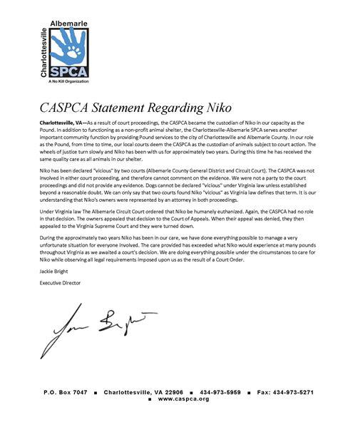 Shelter Insurance Letterhead niko statement letterhead charlottesville albemarle spca