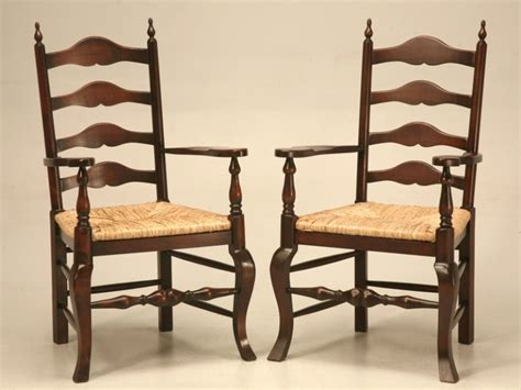 unfinished oak ladder back chairs pair of vintage solid oak ladder back arm chairs for sale