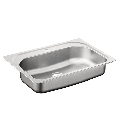 Kitchen Sink Hardware Moen 1800 Series Drop In Stainless Steel 33 In 1 Single Basin Kitchen Sink Featuring
