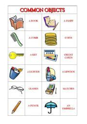 english worksheets common objects
