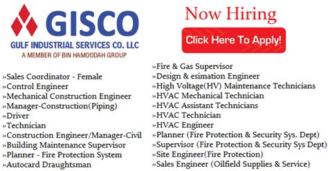 For Mba Freshers In Bahrain by Vacancies In Gisco 2017 Listentojobs