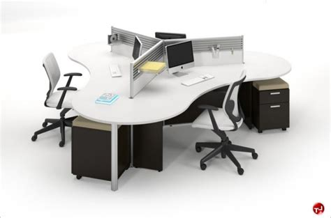 3 Person Desk the office leader milo cluster of 4 person cubicle office