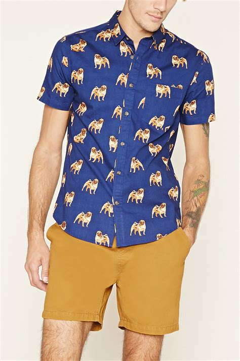 pug t shirts india lyst forever 21 pug print shirt in blue for