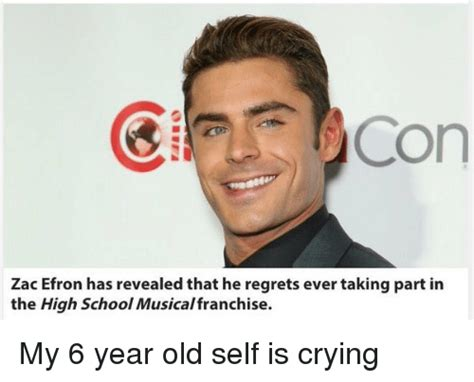 Zac Efron Meme - con zac efron has revealed that he regrets ever taking