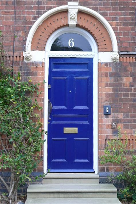 Royal Blue Front Door Gold House Numbers Traditional House Numbers Other Metro By The Fanlight Number Co