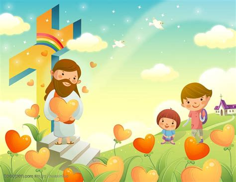 imagenes de jesus feliz 宗教卡通插画 耶稣和十字架 素材公社 tooopen com