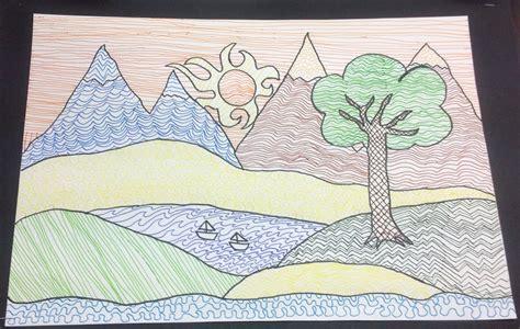 pattern art grade 5 grade 5 zentangle landscape drawing 9 the back art room blog