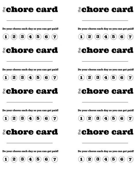 free printable punch card template diy printable kid s chore punch card chores reward