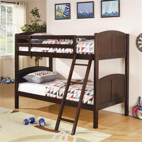 Coaster Twin Over Twin Bunk Bed In Cappuccino Finish 460213 Coaster Bunk Beds