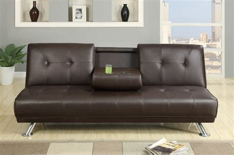 twin bed sectional poundex f7220 brown twin size leather sofa bed steal a