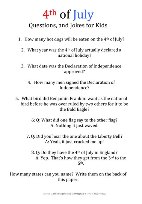 4th Of July Facts by Forth Of July Fact Sheet For By Simplistically Sassy