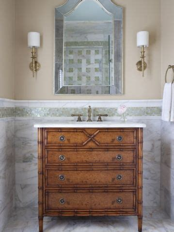 Antique Powder Room Vanity by Powder Room With Repurposed Antique Commode Chest With