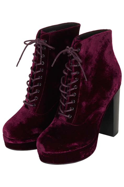 shoeniverse topshop purple alpy velvet lace up boots