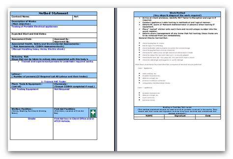 doc 585700 method statement template free sle