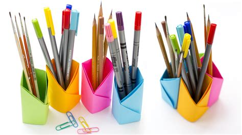 How To Make A Paper Pencil Holder - origami pencil holder how to make pen holder without glue