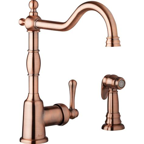 copper faucet kitchen danze opulence single handle standard kitchen faucet with side spray in antique copper d401157ac