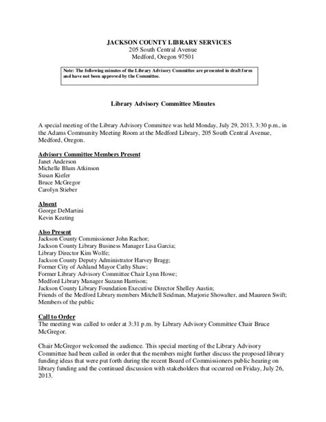 Jackson County Library Advisory Committee Meeting Minutes July 29 Advisory Board Meeting Minutes Template