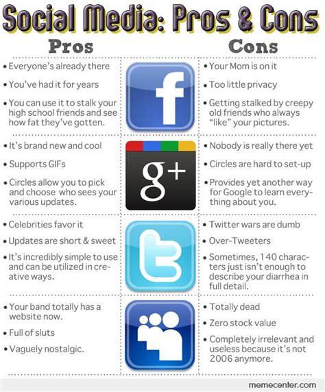 Memes Social Media - social media pros cons by ben meme center