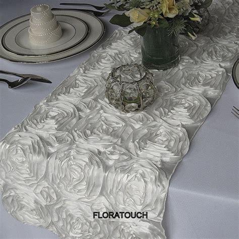 rosette table runner white satin ribbon rosette wedding table runner